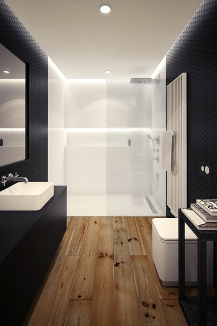 super gestaltung vom badezimmer - in schwarz und weiß