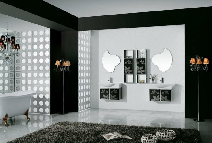 badezimmer-in-schwarz-und-weiß-zwei-runde-spiegel