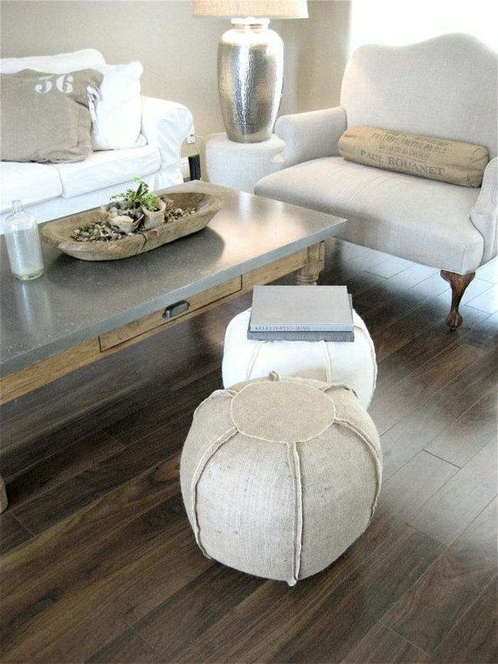 Living Room Pouf : 111 Fotos von modernen und bequemen Bodenkissen ...