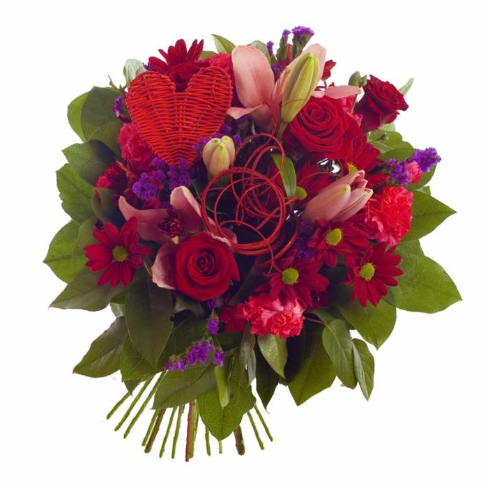 blumendeko-blumenstrauß-ideen-für-dekoration-mit-blumen-valentinstag-geschenke