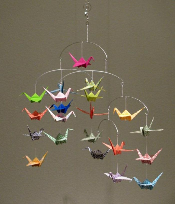 bunte-Origami-Kraniche-Mobile