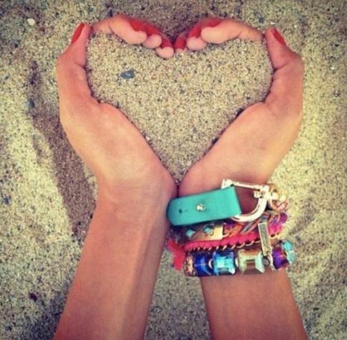 cool-Strand-Sand-Herz-Hände-Armbänder