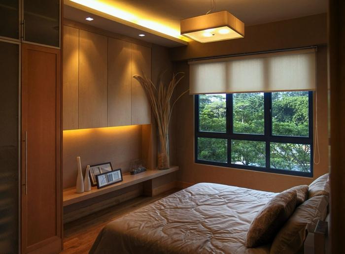 Deckenbeleuchtung Für Schlafzimmer Fenster Mit Weißen Jalousien