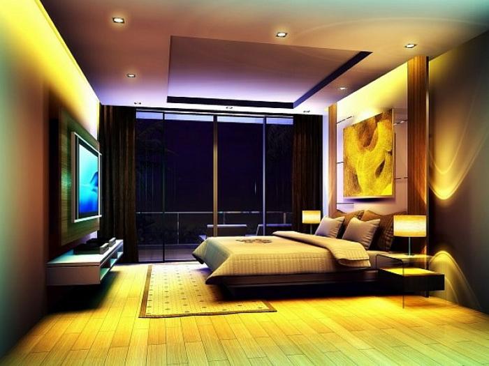 deckenbeleuchtung-für-schlafzimmer-gelbe-akzente