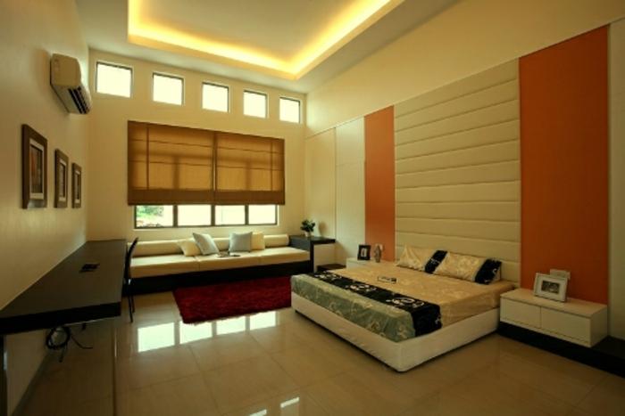 deckenbeleuchtung-für-schlafzimmer-gelbe-gestaltung-sehr-modern