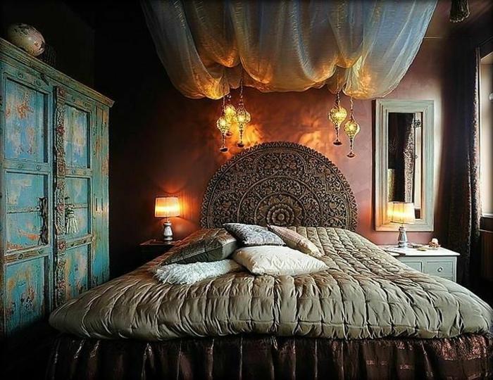 deckenbeleuchtung-für-schlafzimmer-großes-bett-modell-dunkle-zimmergestaltung
