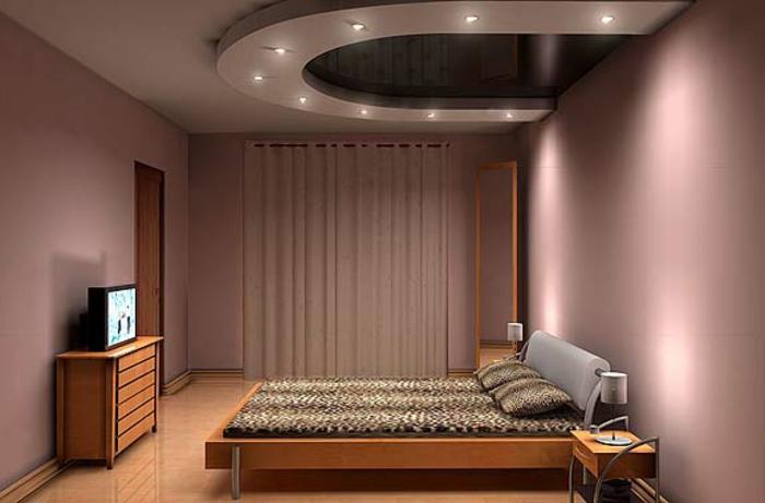 deckenbeleuchtung-für-schlafzimmer-lila-wände-und-modernes-bett-design