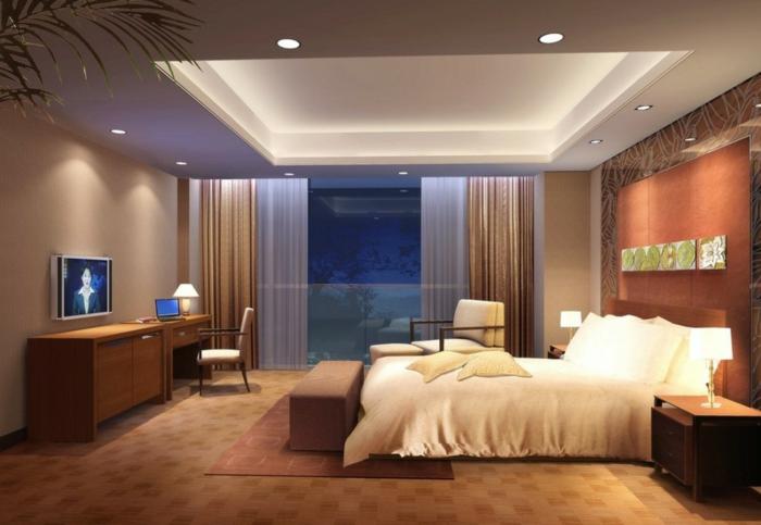 deckenbeleuchtung-für-schlafzimmer-luxuriöses-bett-und-ein-fernseher