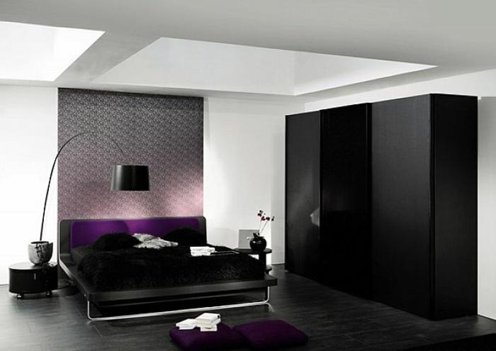 deckenbeleuchtung-für-schlafzimmer-schwarze-schränke