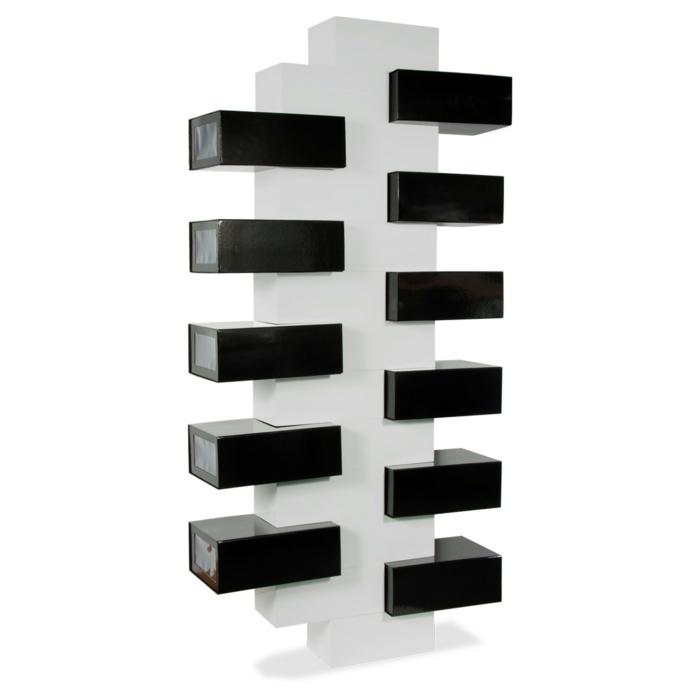 designer-schuhregal-schwarze-gestaltung-weiße-wand