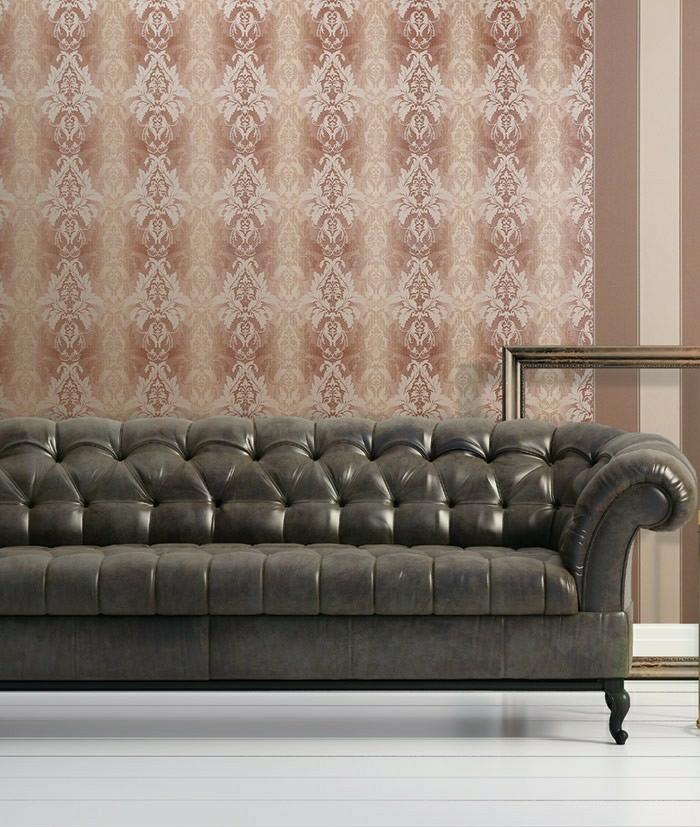 elegantes-Design-Tapete-Barock-Muster-beige-braun