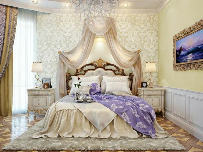 Elegantes Schlafzimmer Barock Stil Tapete Champagner Farbe Gardinen  Amazing Ideas