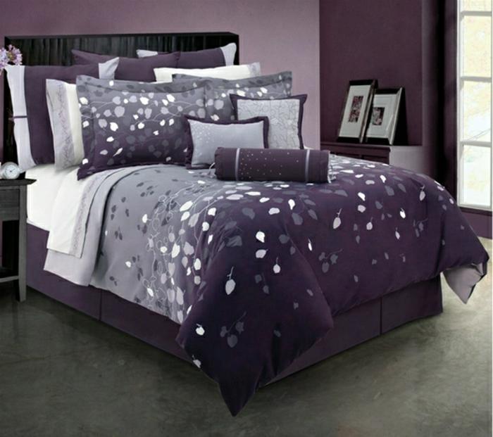 elegantes-Schlafzimmer-Bettwäsche-lila-grau