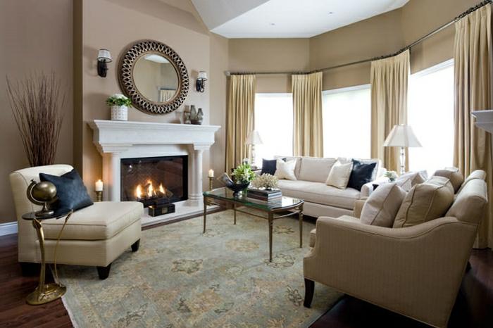 cappuccino wohnzimmer:Die Wandfarbe Cappuccino ist für jedes Wohnzimmer geeignet