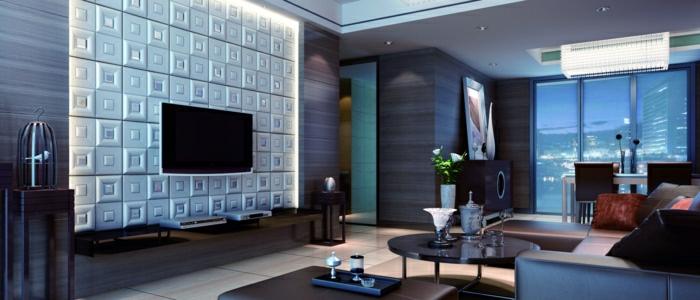 Moderne wandpaneele 80 fotos zum erstaunen - 3d wandpaneele wohnzimmer ...