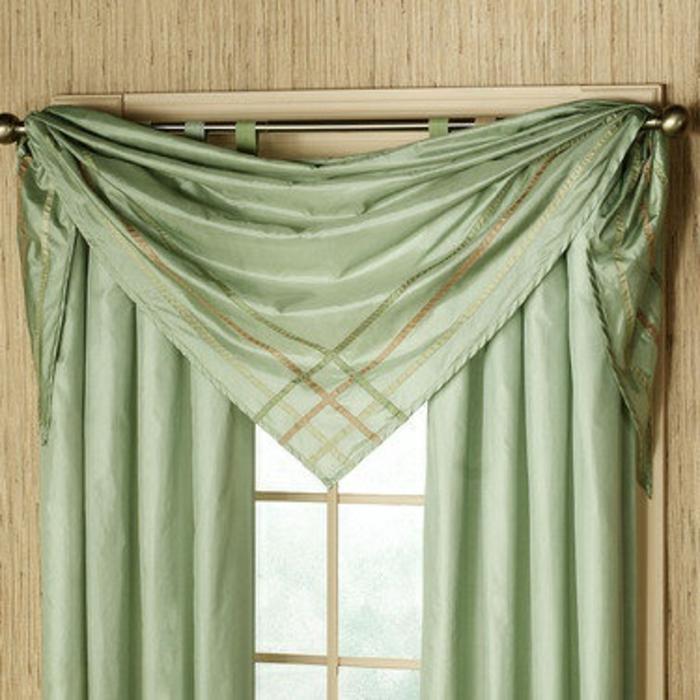 gardinen-für-dreiecksfenster-grüne-interessante-farbe