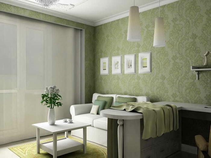 grüne-wandfarbe-für-ein-schönes-kleines-wohnzimmer