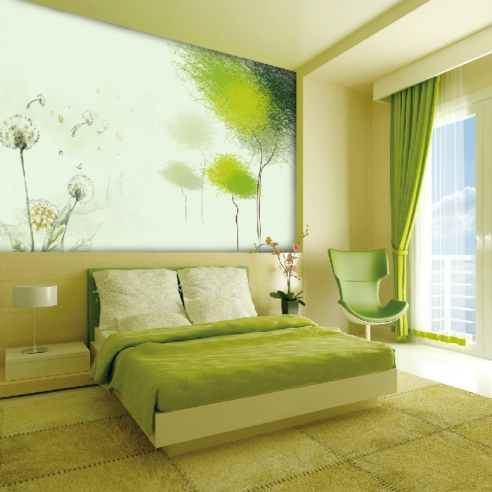 grüne-wandfarbe-großes-bild-an-der-wand-im-gemütlichen-schlafzimmer