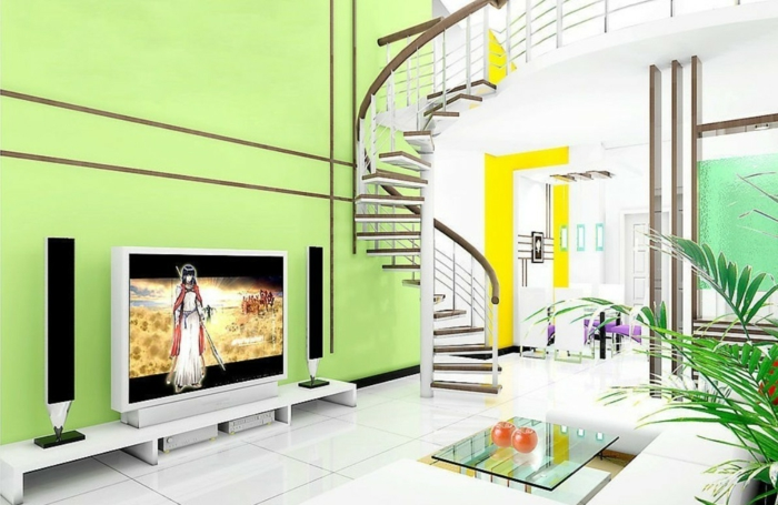 grüne-wandfarbe-in-einem-modernen-wohnzimmer-spiraltreppen