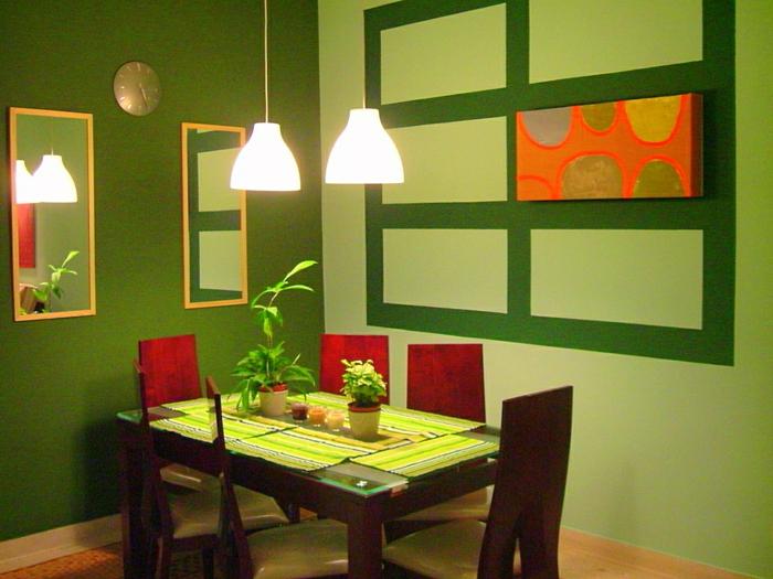 Grüne Wandfarbe Kleines Schönes Modell Vom Esszimmer