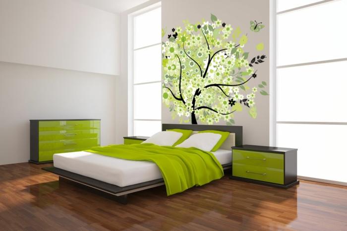 grüne-wandfarbe-kreative-wandgestaltung-im-schlafzimmer