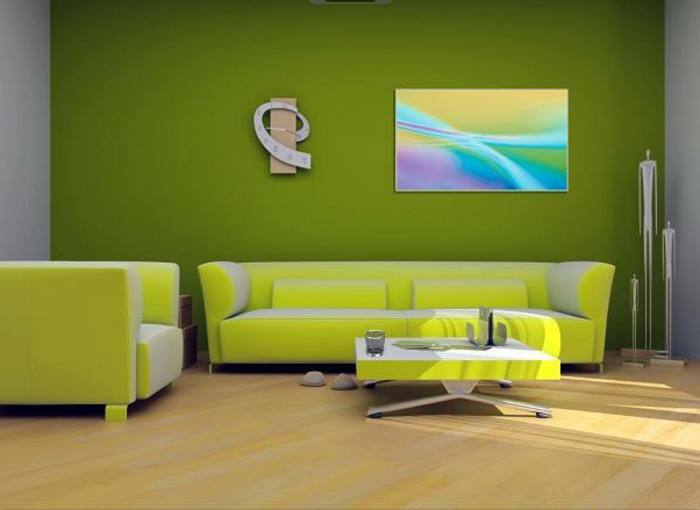 grüne-wandfarbe-schicke-sofas-und-bild-an-der-wand-im-wohnzimmer