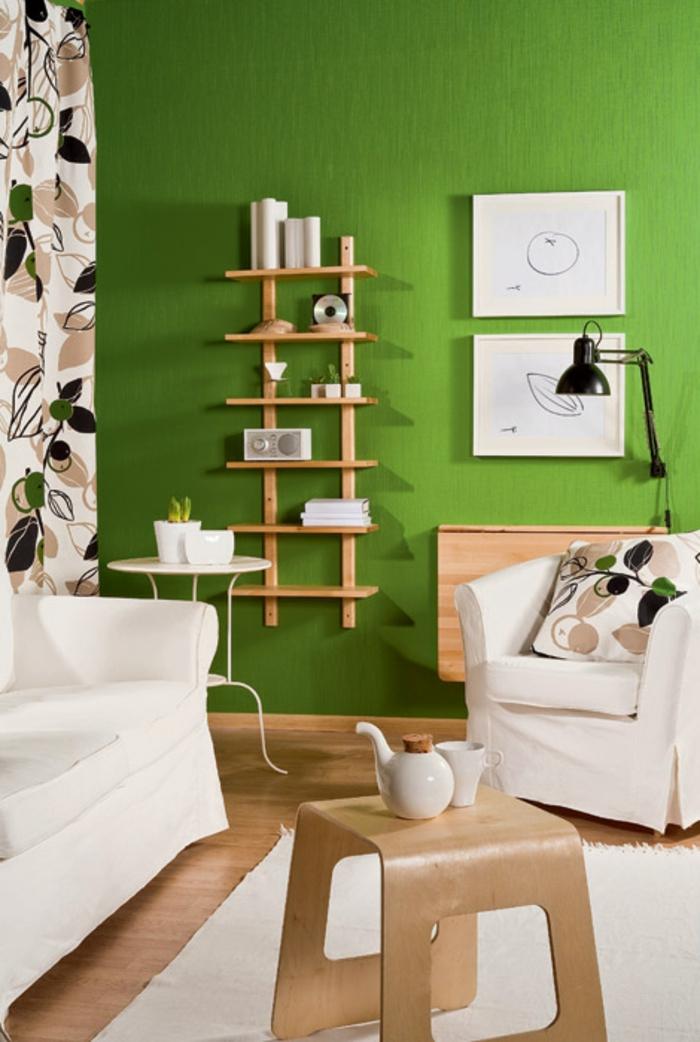 Grüne Wandfarbe für ein gemütliches Ambiente im Zimmer