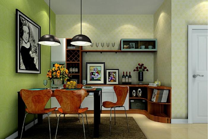 Grüne Wandfarbe Viele Bilder Als Dekoration Im Esszimmer