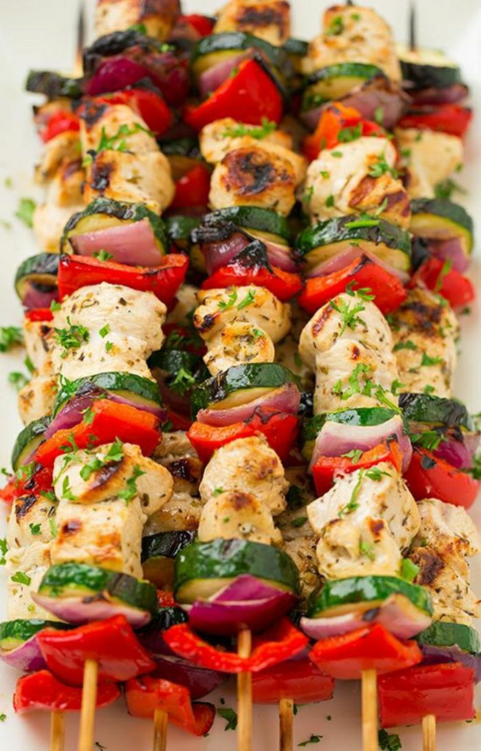 griechische-Speisen-Hähnchenspiesse-Tzatziki-Sauce