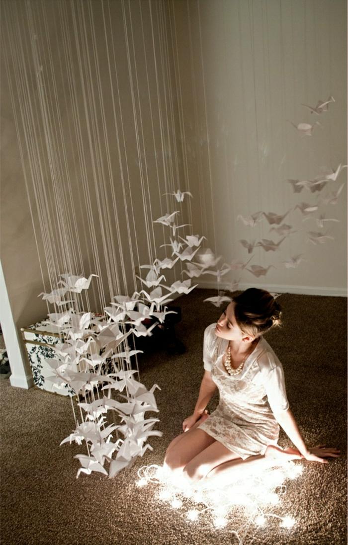 hängende-Zimmer-Dekoration-weiße-Origami-Kraniche-Leuchten