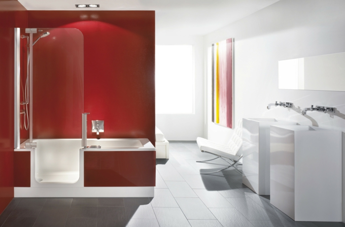 impressing-bathroom-with-white-walls-white-washing-stands-mirror-white-seat-there-is-also-an-amazing-tub-shower-with-glass-door-red-walls-and-modern-shower-faucet-set