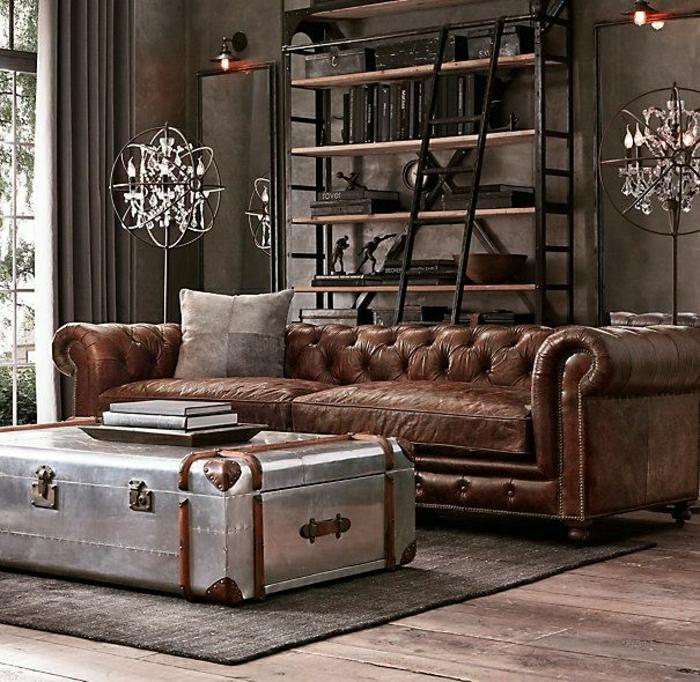 industrial-mönnliches-Design-Chesterfield-Metall-Kasten-Tisch