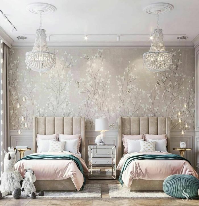 inspiration jugendzimmer luxuriös mädchenzimmer luxus interior design inspiration kreative wandgestaltung zwei betten
