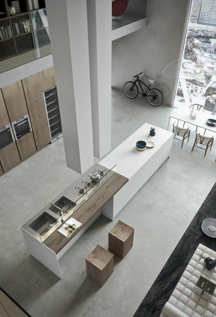 küche-mit-kochinsel-foto-von-oben-genommen