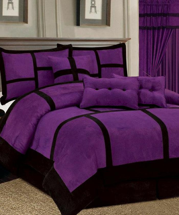 lila-Schlafzimmer-Bettwäsche-Gardinen-schwarze-Linien-elegant