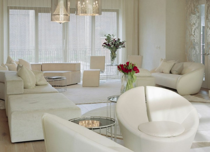 Luxus Wohnzimmer Alles In Weiß Moderner Sessel