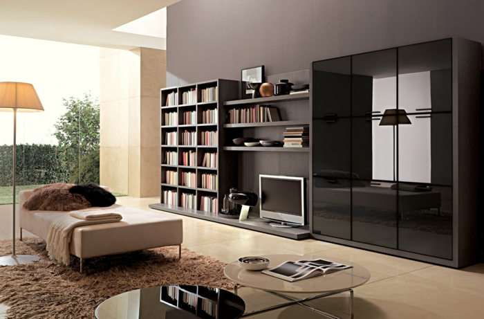 luxus wohnzimmer - mit einem modernen regalsystem