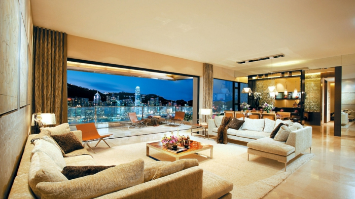 luxus-wohnzimmer-cooles-modell-gläserne-wände