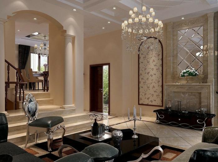 luxus-wohnzimmer-eleganter-lüster-schwarzer-teppich
