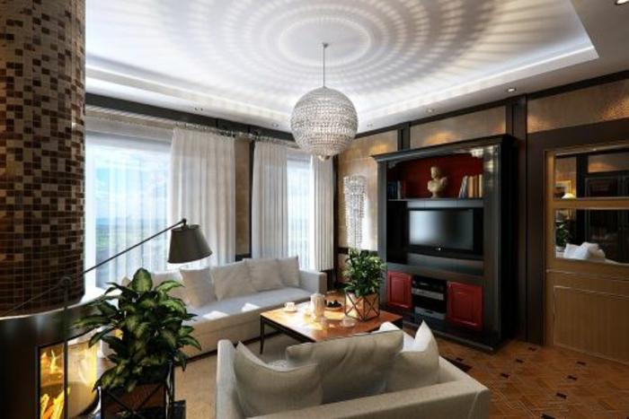luxus-wohnzimmer-hängende-lampe-moderne-möbel
