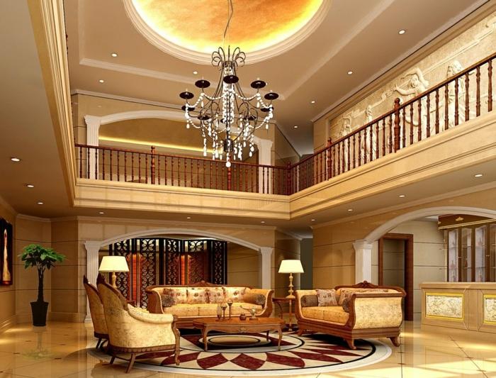 luxus-wohnzimmer-hohe-zimmerdecke-balkon-attraktive-möbel