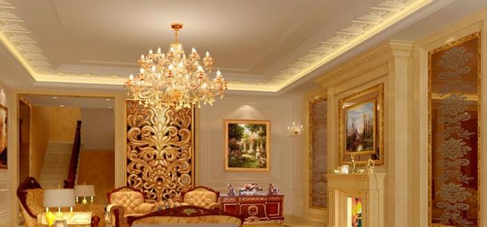 luxus-wohnzimmer-interessanter-kronleuchter