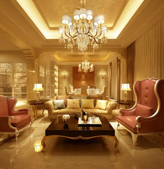luxus wohnzimmer modern:luxus wohnzimmer mit einem aristokratischen nesttisch und eleganten