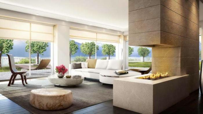 luxus wohnzimmer modern:luxus-wohnzimmer-moderne-gestaltung-gläserne-wände