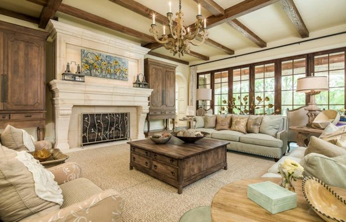 luxus-wohnzimmer-qzadratischer-nesttisch-weißer-kamin