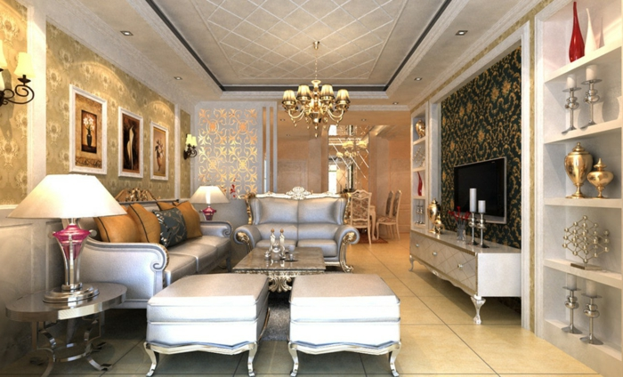 luxus-wohnzimmer-weiße-hocker-interessante-lampe