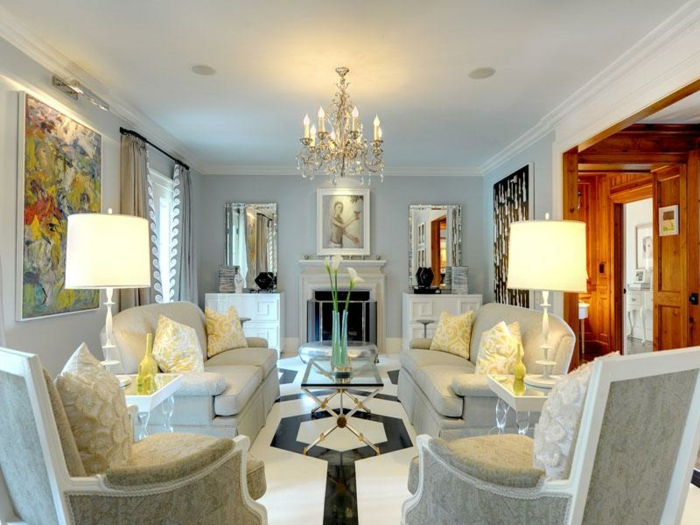 Luxus Wohnzimmer Zwei Lampen Moderne Gestaltung