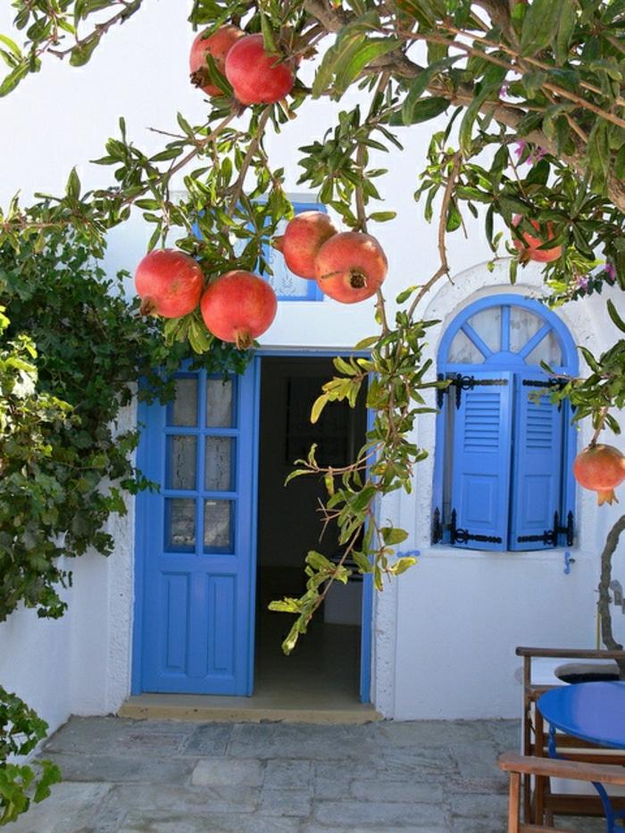 mediterrane-Gartengestaltung-Granatapfelbaum-blaue-Fensterläden