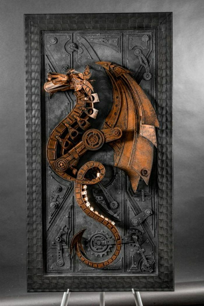 moderne-Skulptur-Metall-Drachen