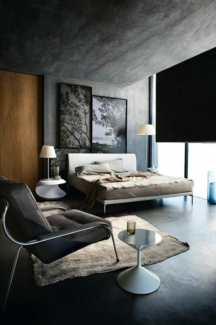 moderne-Zimmergestaltung-grau-Wandbilder-Bäume